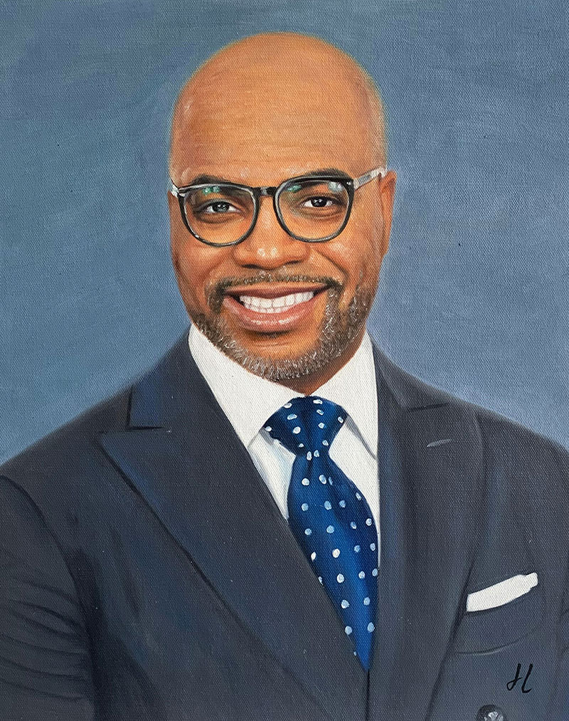 Custom oil portrait of a gentleman with glasses