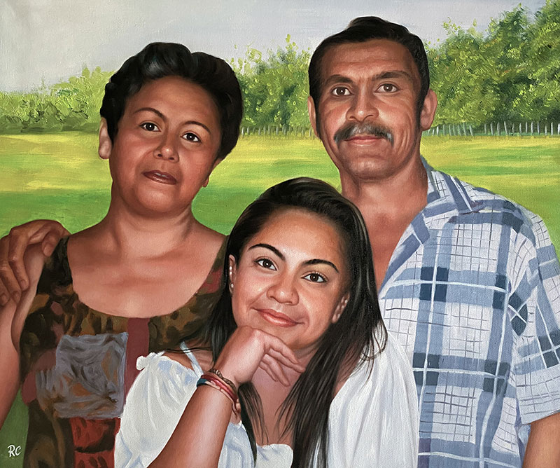 Custom handmade oil painting of a parents with daughter