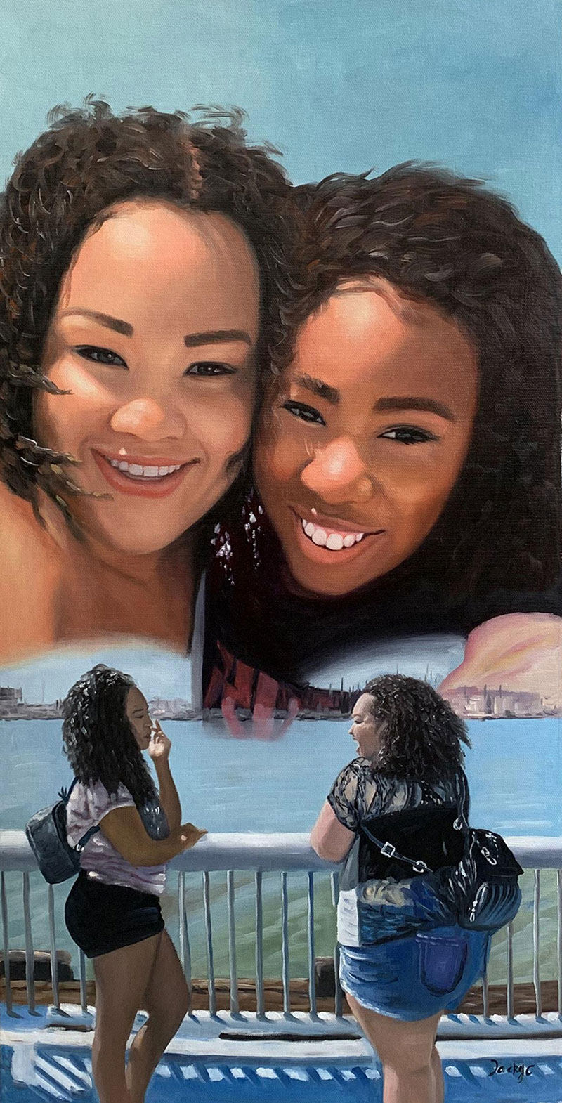 Beautiful oil painting of two friends