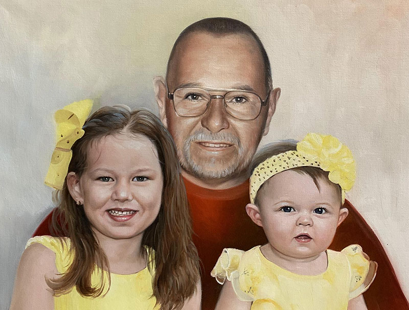 Custom acrylic painting of a grandfather with two grand kids