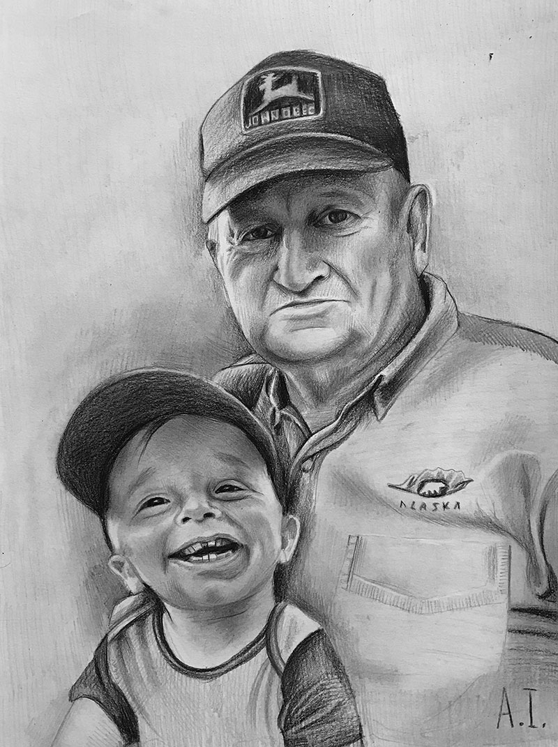 Custom black pencil drawing of a grandfather with a kid