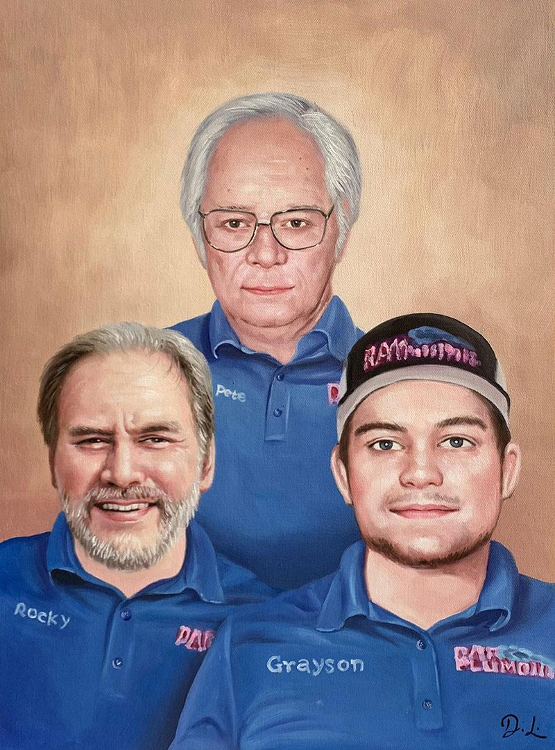 Custom acrylic painting of three adults