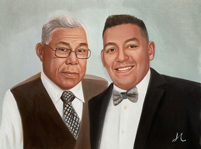 Custom handmade oil portrait of two gentlemen