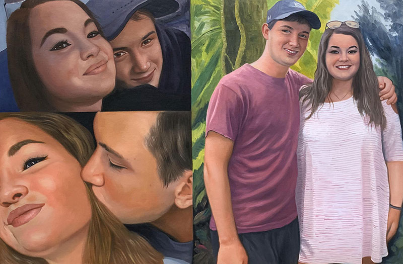 Beautiful handmade acrylic collage of a loving couple