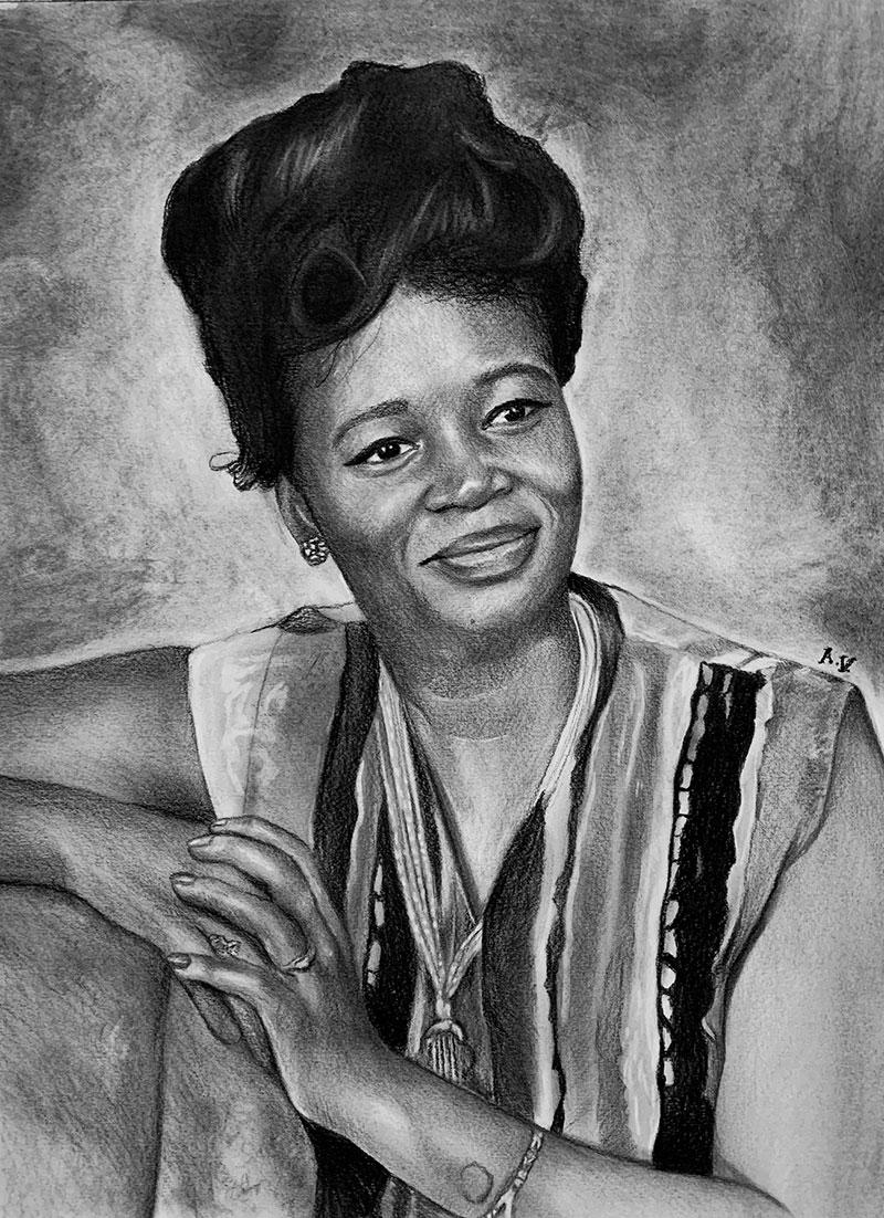 Beautiful charcoal portrait of a lady