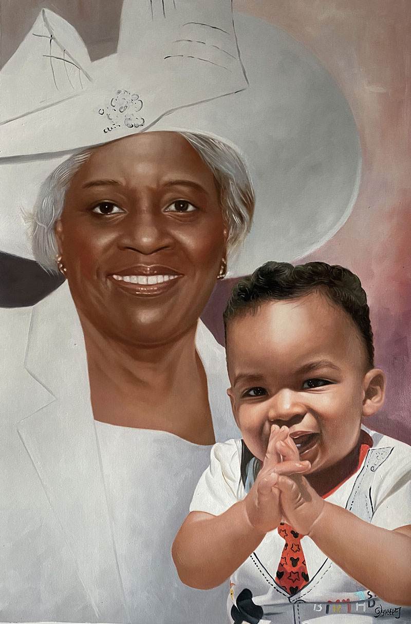 Hyper realistic oil painting of a lady with a baby