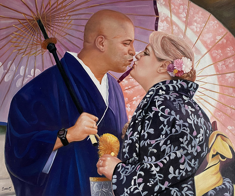 Beautiful oil painting of a kissing couple
