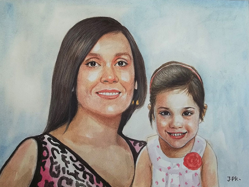 Beautiful watercolor painting of a mother and daughter