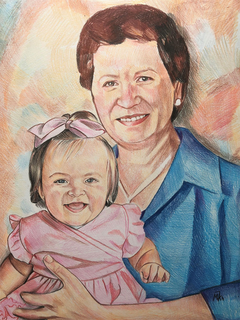 Beautiful color pencil drawing of a grandmother with a child
