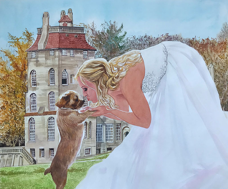 Beautiful watercolor painting of a bride with pet