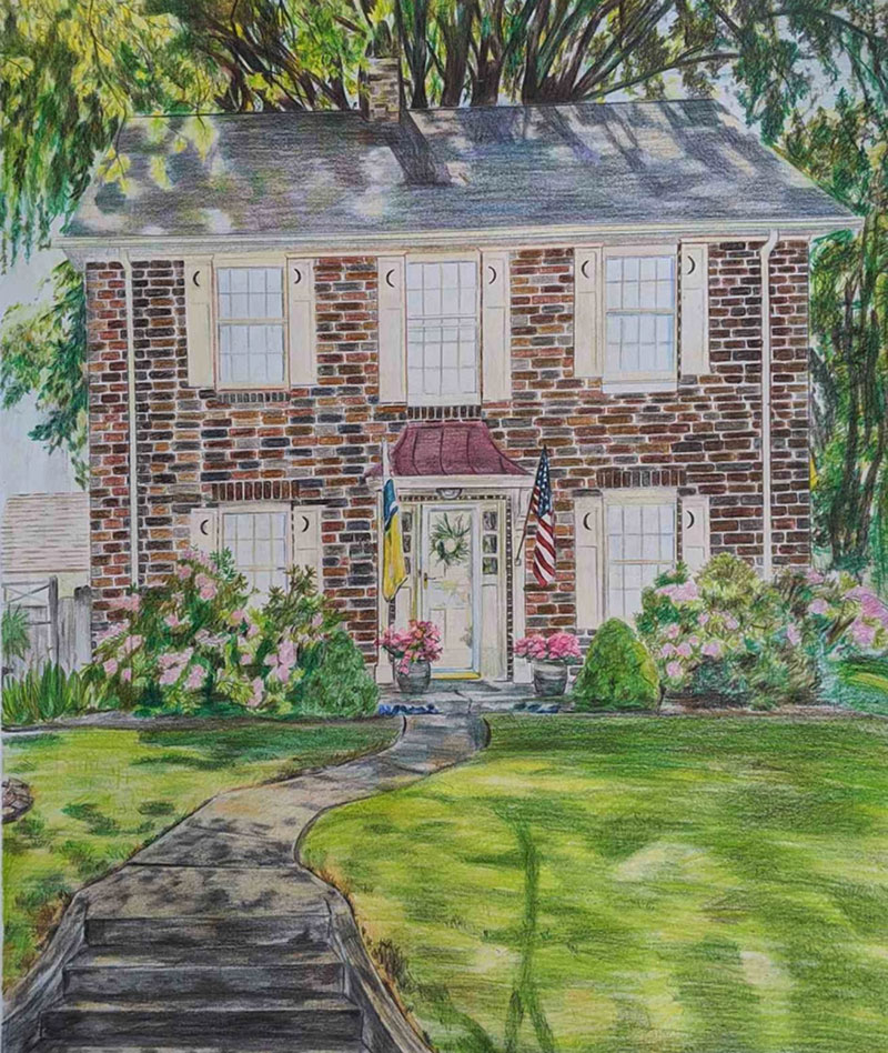 Beautiful handmade color pencil drawing of a landscape
