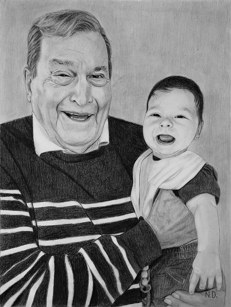Beautiful handmade charcoal drawing of a man with a baby