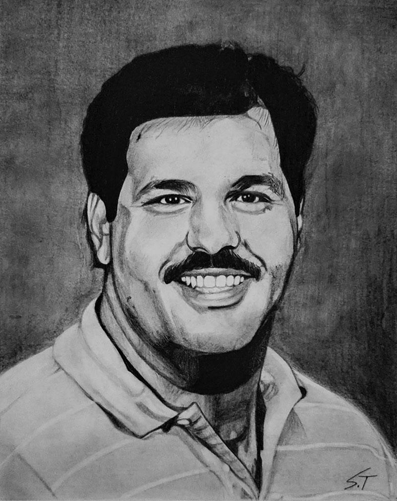 Personalized black pencil portrait of a gentleman