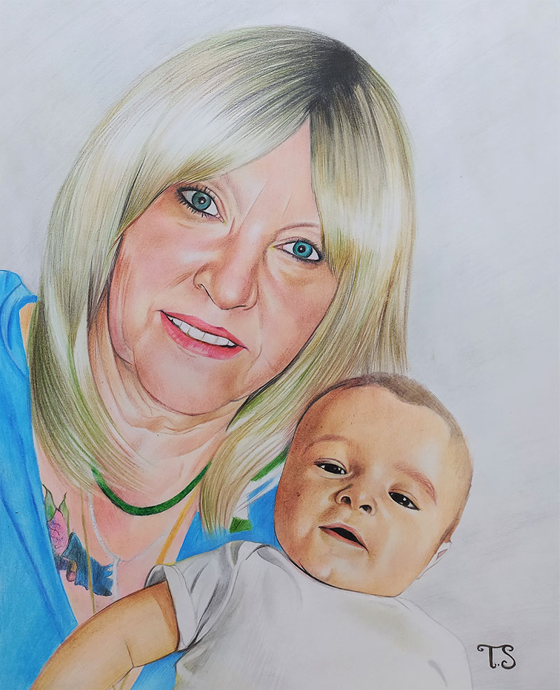 Beautiful color pencil drawing of a lady with a baby