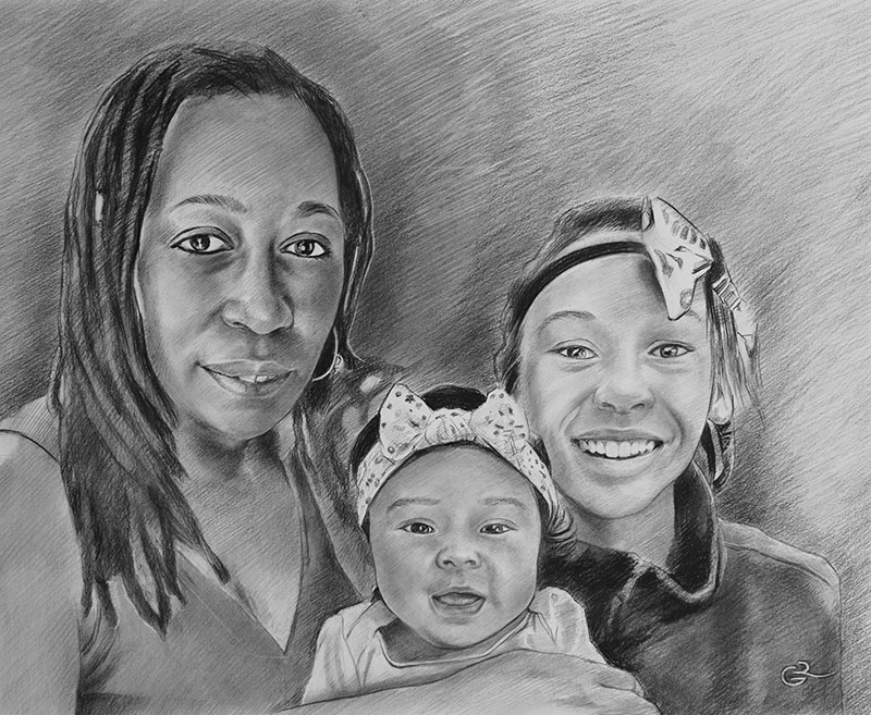 Beautiful charcoal drawing of a lady with two kids