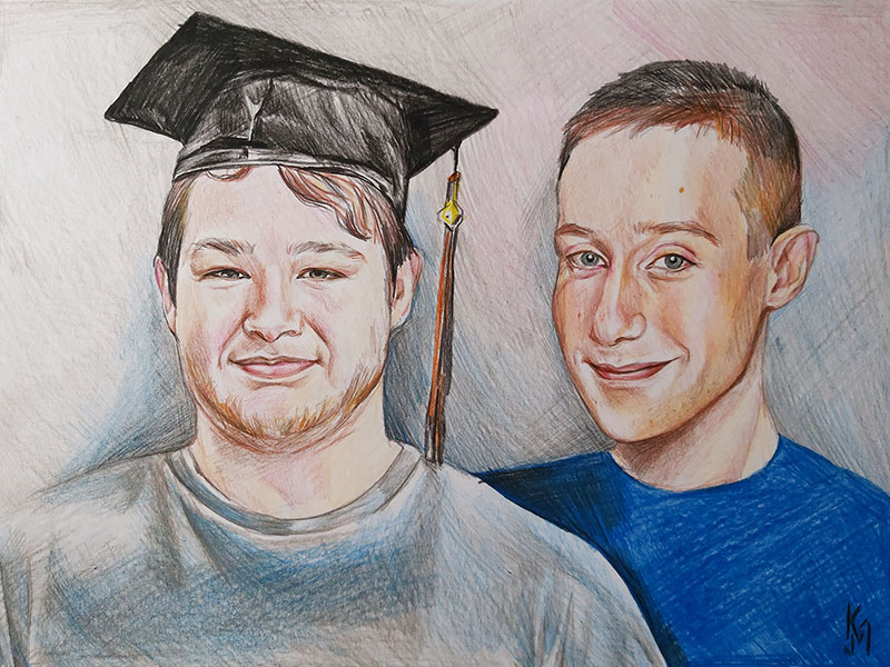 Custom handmade color pencil drawing of two adults