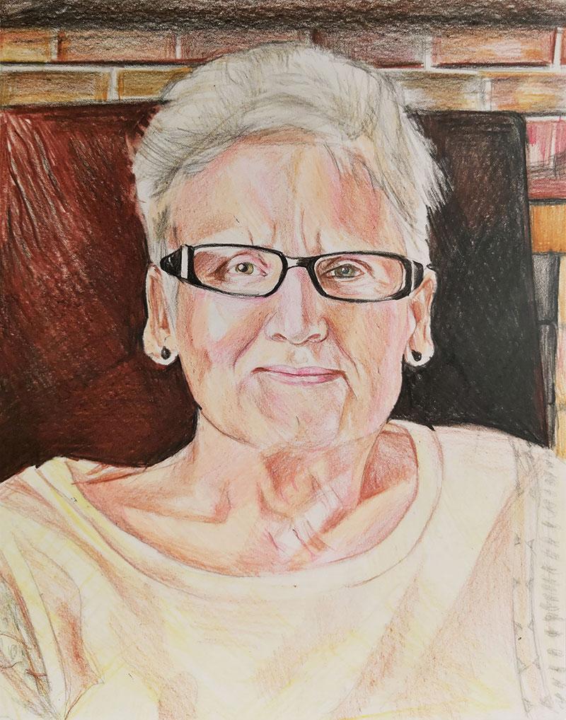 Custom color pencil drawing of an elder lady