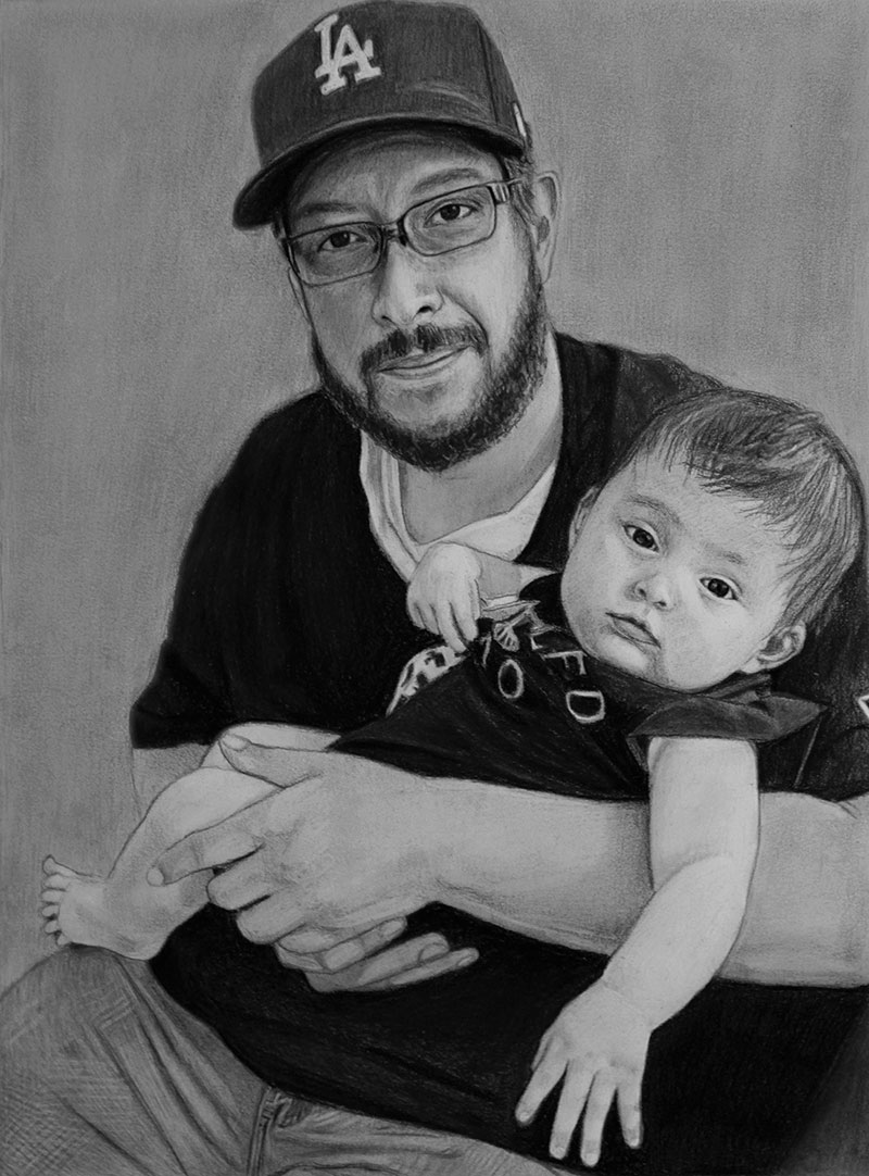 Custom charcoal drawing of a gentleman holding a baby