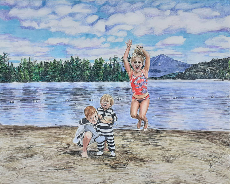 Beautiful handmade color pencil drawing of kids having fun