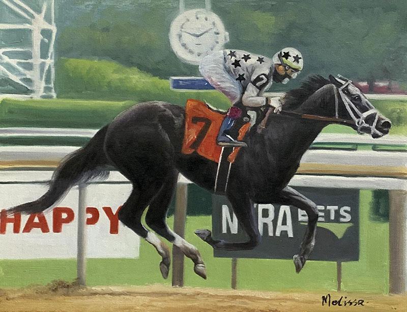 Custom oil artwork of a man riding a horse