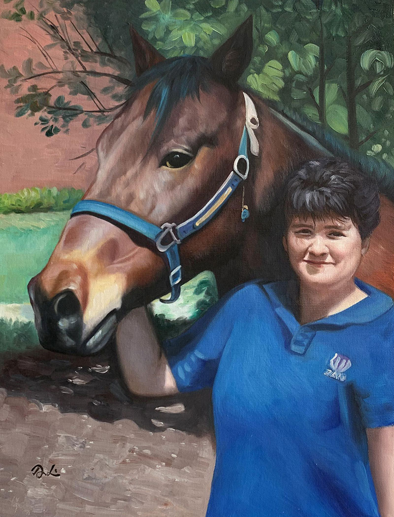 Custom oil painting of a lady with a horse