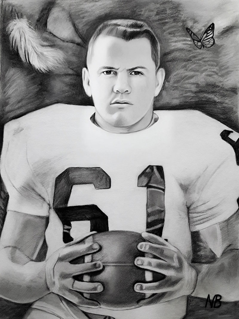 Beautiful handmade charcoal drawing of a sportsman