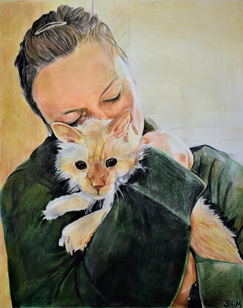 Beautiful color pencil drawing of a lady hugging a pet