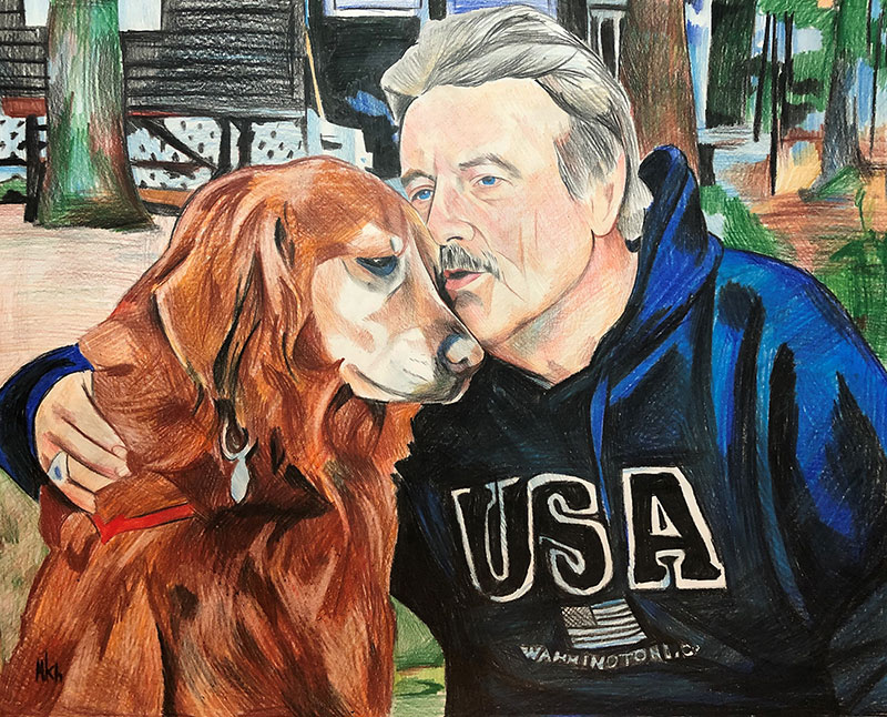 Custom color pencil drawing of an elder man with a dog