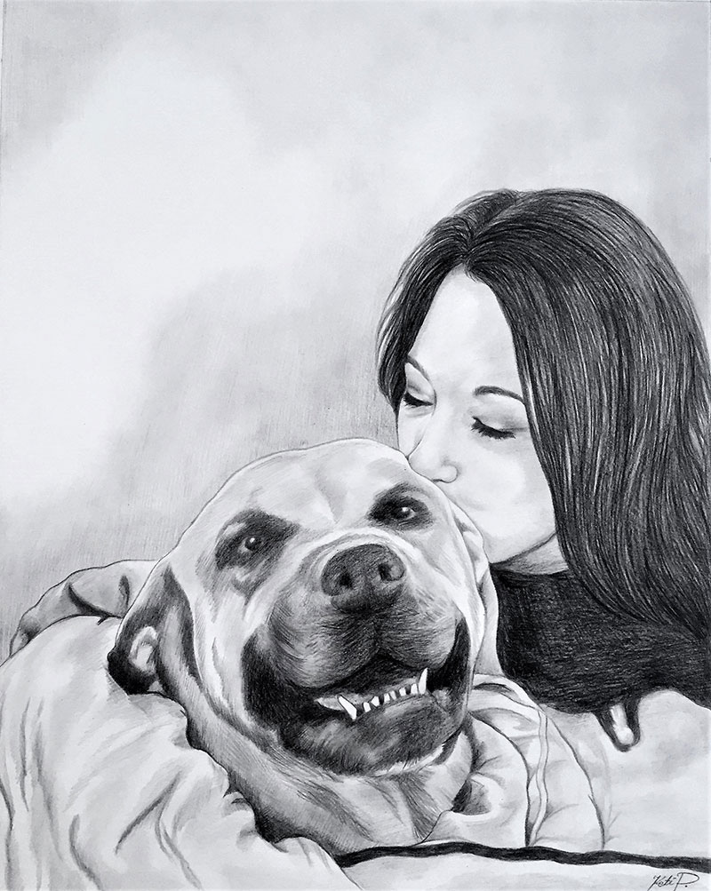 Beautiful black pencil drawing of a girl kissing a dog