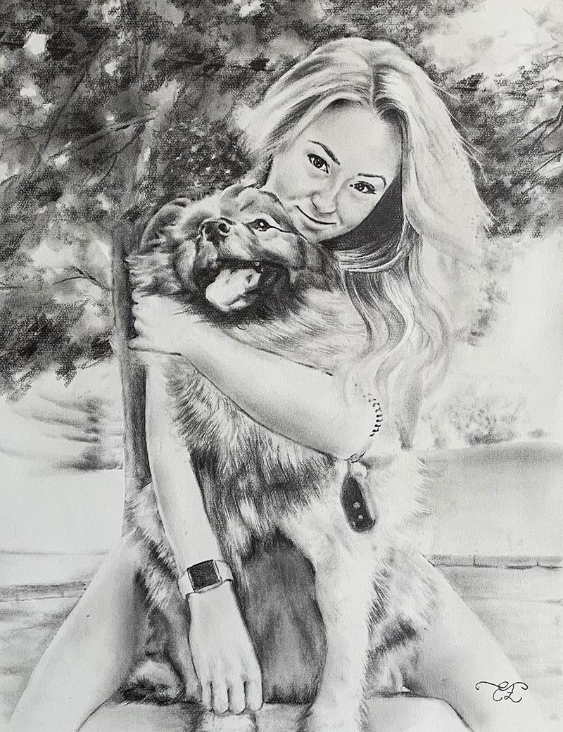 Beautiful black pencil drawing of a girl hugging a dog