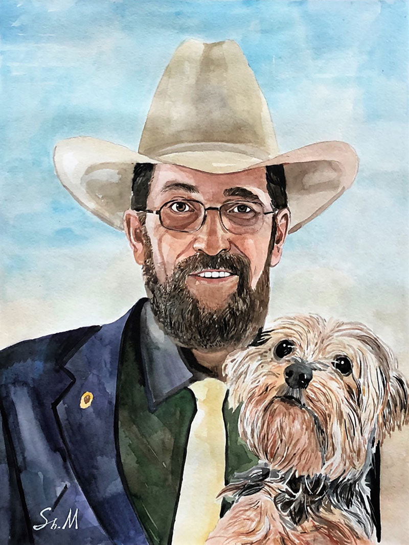 Custom watercolor painting of a gentleman with a pet