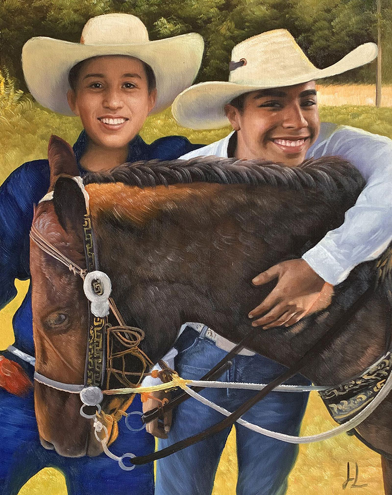Custom oil painting of two boys with a horse