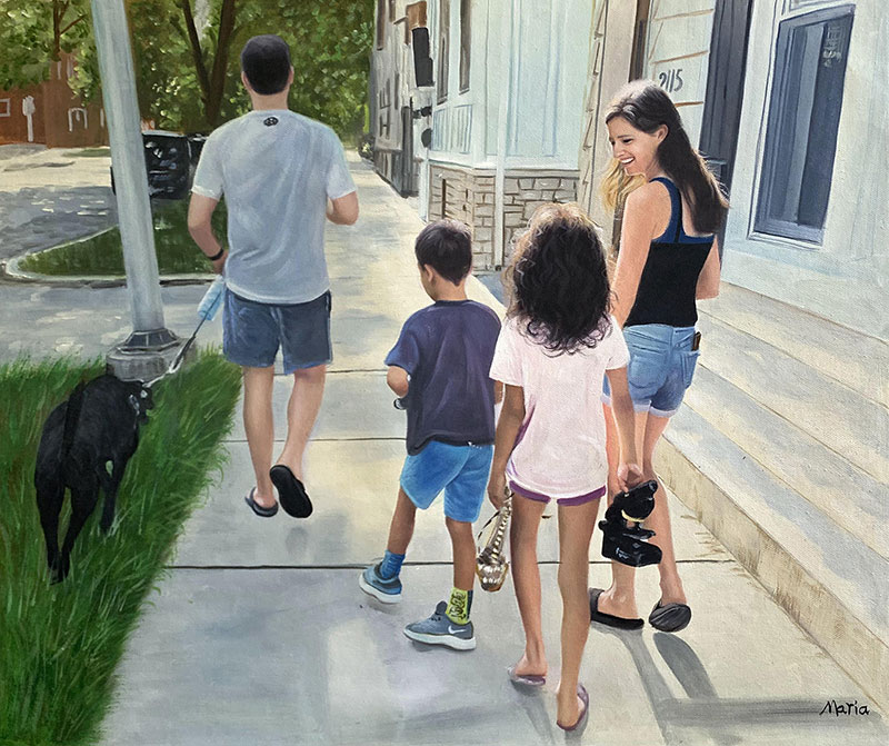 Gorgeous oil artwork of a happy family with pet