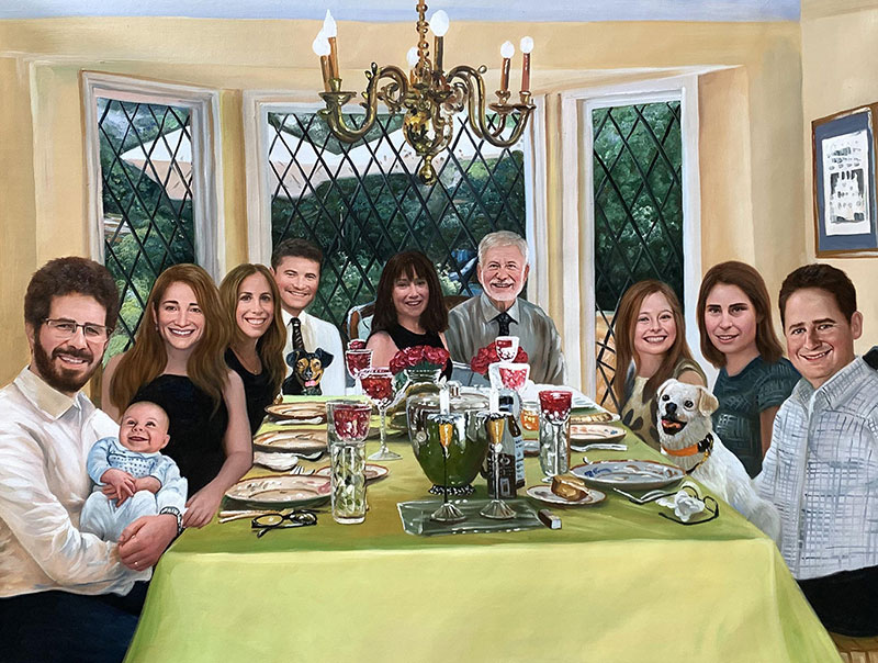 Beautiful oil family portrait at the dinner