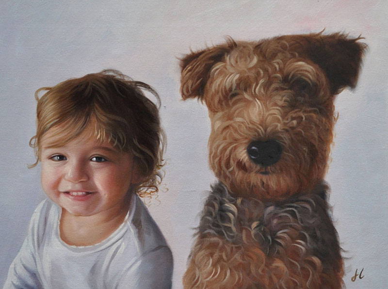 Beautiful acrylic painting of a child with a dog