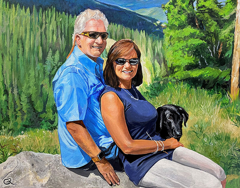 Gorgeous acrylic painting of an elder couple