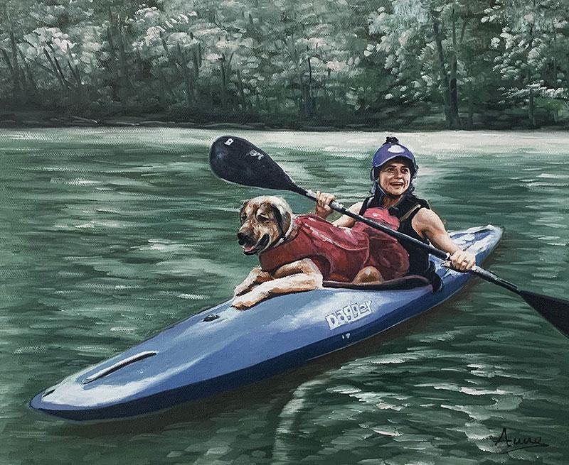Custom acrylic painting of an adult riding a kayak with dog
