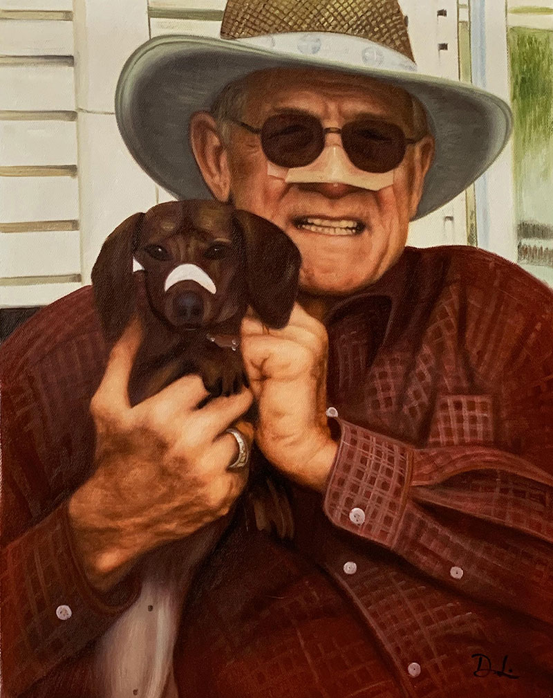 Personalized acrylic painting of a man with hat holding dog