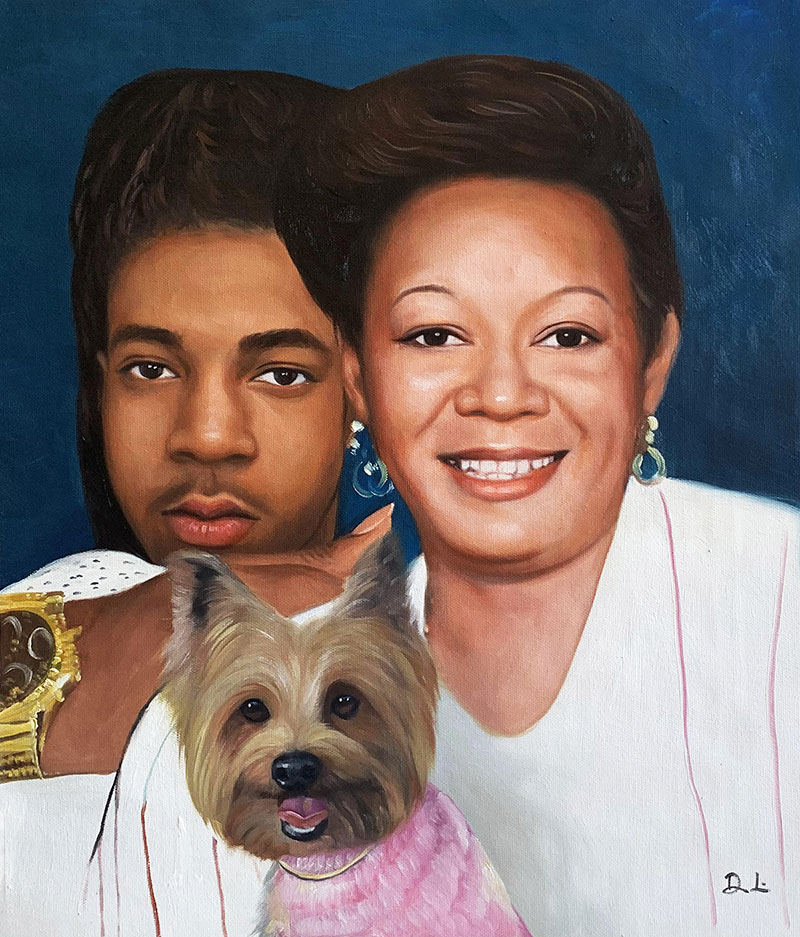 Custom acrylic painting of two adults with a dog