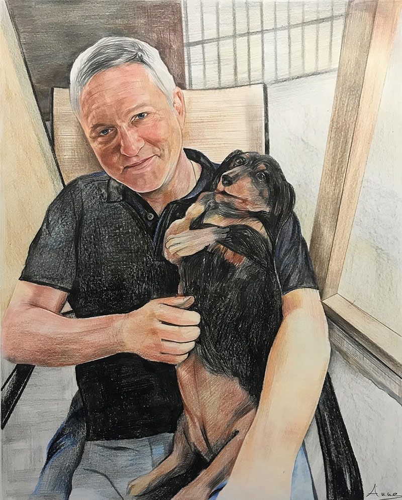 Beautiful color pencil drawing of a man with a pet