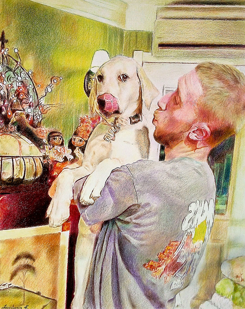 Custom color pencil drawing of an adult holding a dog