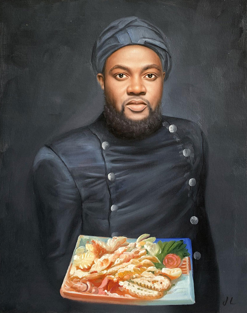 Custom oil painting of a man holding the plate with food