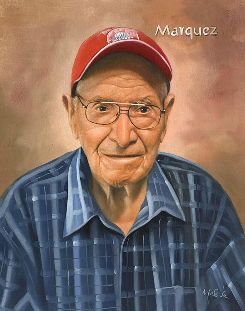 Personalized oil portrait of an elder man with red cap
