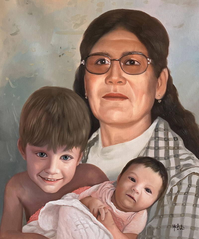 Beautiful acrylic painting of a family