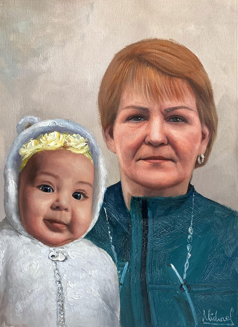 Beautiful acrylic painting of a lady with a baby