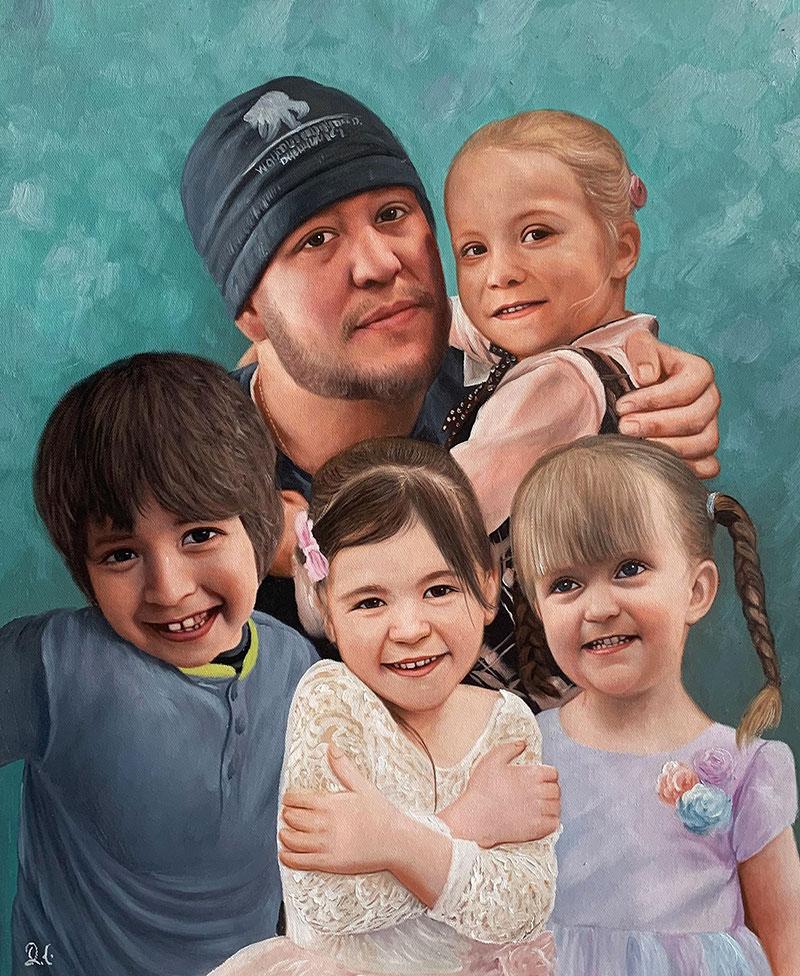 Stunning handmade acrylic painting of a family