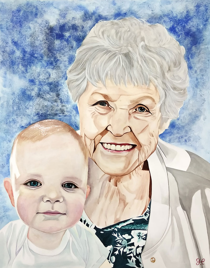 Custom watercolor painting of a grandmother and a grandchild