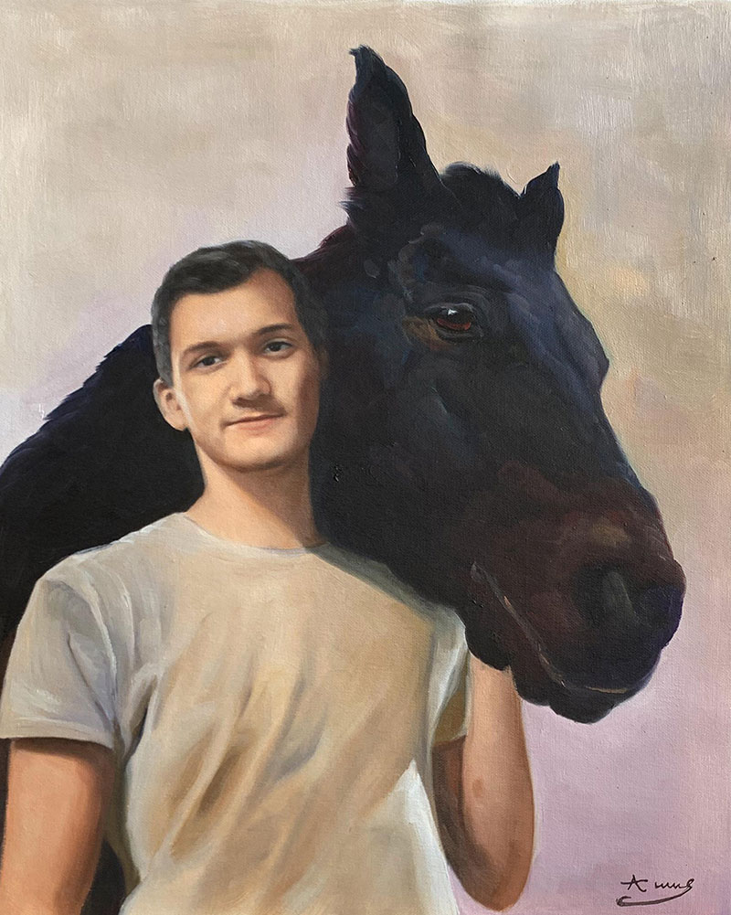 Beautiful acrylic painting of an adult with a horse