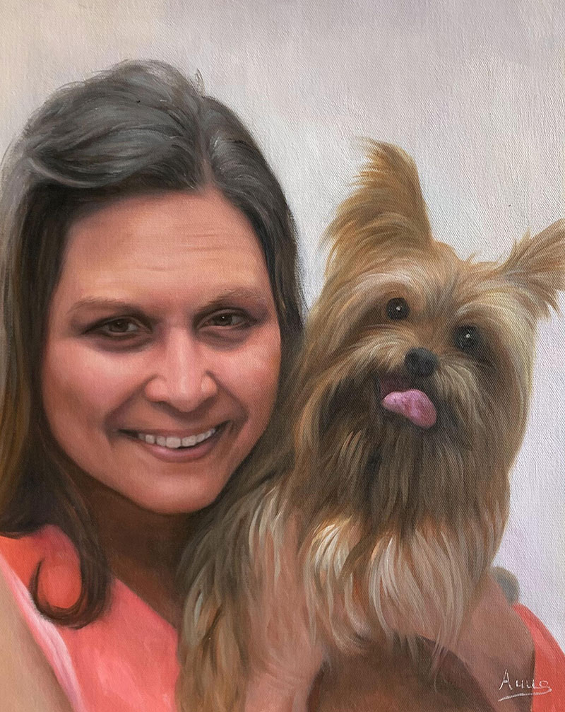 Beautiful acrylic painting of a lady with a dog