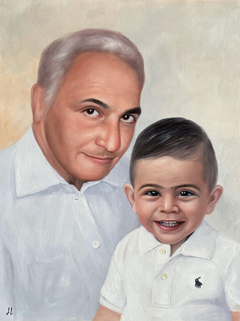Custom acrylic painting of a man with a kid